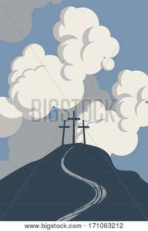 mountain Calvary with three crosses with sky and clouds