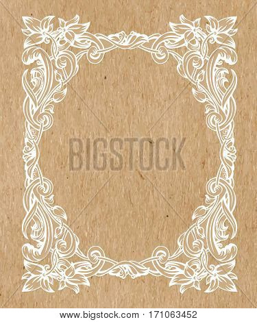 Vintage Art Nouveau frame composed of vignettes leaves and flowers of golden color on a kraft background