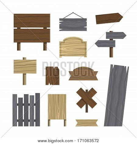 Various wooden plaques and signs. Set of different wood texture signs. Vector illustration.