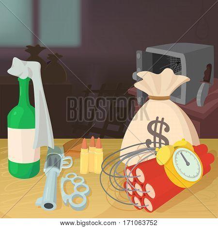 Steal money criminal concept. Cartoon illustration of steal money criminal vector concept for web