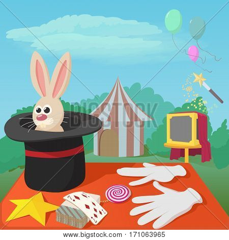 Magician tools concept. Cartoon illustration of magician tools vector concept for web