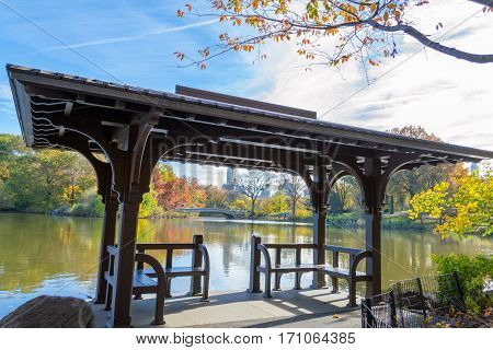 Bow Bridge During The Fall In Central Park