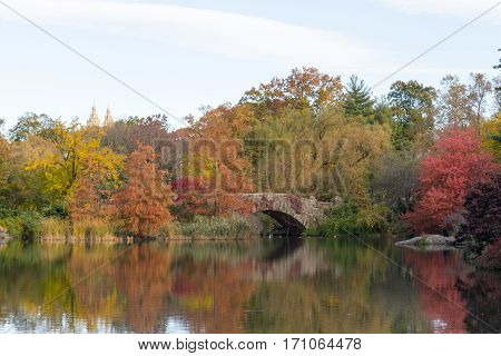 Gapstow Bridge In A Colorfull Fall Morning