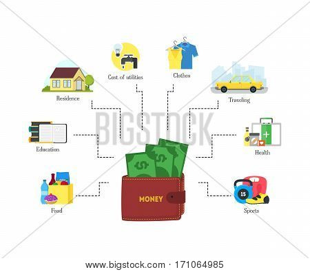 Cartoon Monthly Expenses Finance Concept Saving Your Budget Infographics Flat Design Style. Vector illustration