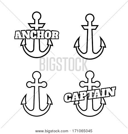 Anchor icons. Vector boat anchors isolated on white background for marine tattoo or logo.