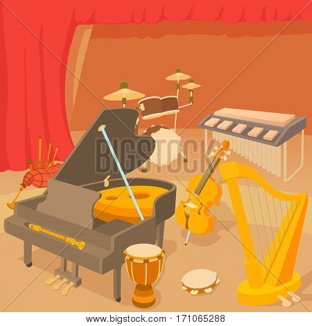 Musical instruments concept. Cartoon illustration of musical instruments vector concept for web