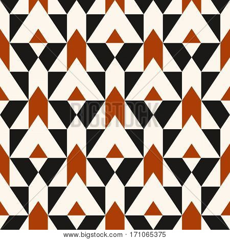 Vector geometric seamless pattern with lines and mosaic tiles in sophisticated grey, brown, black color. Modern bold print with diamond shape for fall winter fashion. Abstract tech op art background