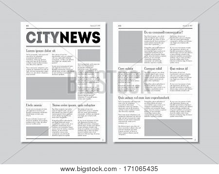 Newspaper City News with Headers on a Grey Background. Vector illustration