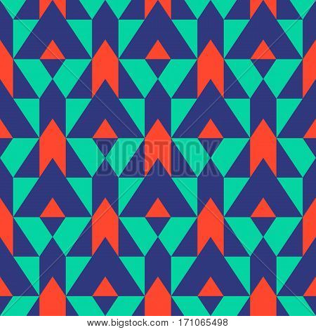 Vector geometric seamless pattern with lines and mosaic tiles in blue, green, red color. Modern bold print with diamond shape for fall winter fashion. Abstract color blocked tech op art background