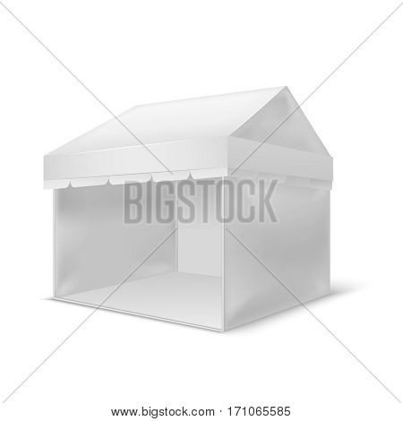 Realistic Template Blank White Pavilion Empty Mock Up Design Element for Your Business. Vector illustration