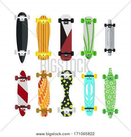 Cartoon Color Skateboard Set Extreme Sport Equipment Flat Design Style. Vector illustration