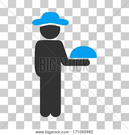 Gentleman Waiter icon. Vector illustration style is flat iconic bicolor symbol blue and gray colors transparent background. Designed for web and software interfaces.
