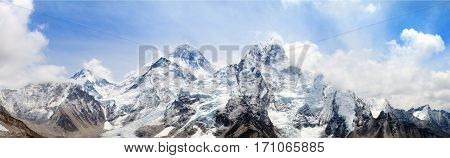 himalaya panoramic view of himalayas mountain Mount Everest with beautiful sky and Khumbu Glacier - way to Everest base camp Khumbu valley Sagarmatha national park Nepalese himalayas