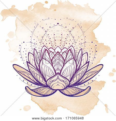 Lotus flower. Intricate stylized linear drawing isolated on grunge background. Concept art for Hindu yoga and spiritual designs. Tattoo design. EPS10 vector illustration.