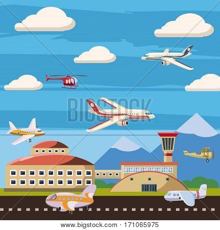 Aviation airport echelon concept. Cartoon illustration of aviation airport echelon vector concept for web