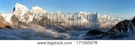 Panoramic scenery view from Gokyo Ri to Arakam Tse Cholatse and other peak in Everest area - Sagarmatha national park Khumbu valley solukhumbu Nepal