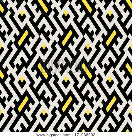 Abstract ethic geometric pattern with maze, diagonal stripes and lines in black, white, yellow. Op art seamless geometric background. Simple tribal bold print with ethnic african and moroccan motif