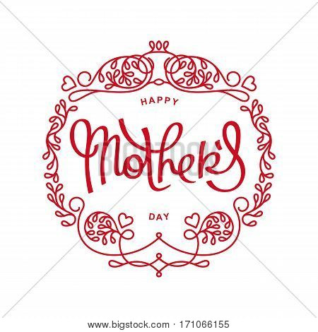 Vintage greetings card for Mother's Day Holiday. Mono line trendy emblem with handwritten calligraphy. Vector elements.