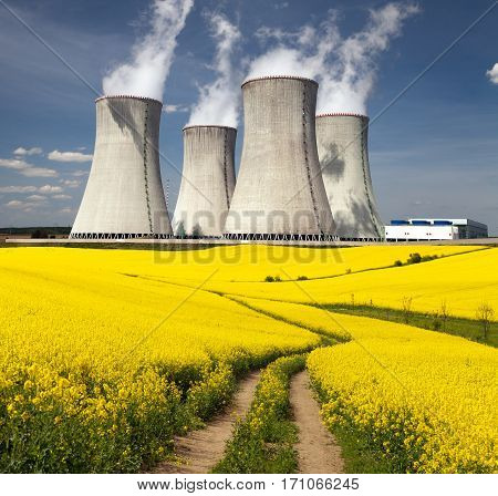 Nuclear power plant Dukovany with golden glowering field of rapeseed and rural road - Czech Republic - two possibility for production of energy