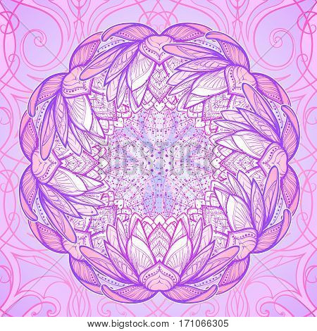 Lotus flower mandala. Intricate stylized linear drawing isolated on pattern background. Concept art for Hindu yoga and spiritual designs. Tattoo design. EPS10 vector illustration.