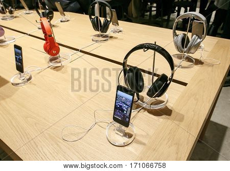 New York February 9 2017: The new iPod Touch and Beats headphones are set on display in Apple store on 5th Avenue.