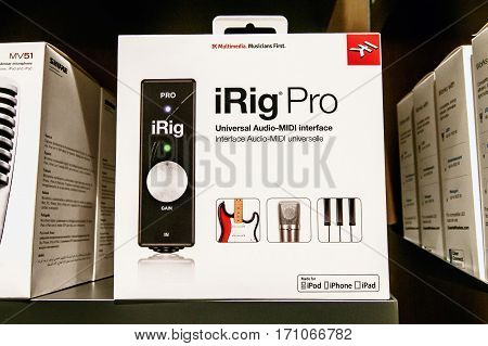 New York February 9 2017: iRig Pro a universal Audio-MIDI interface device is offered for sale in an Apple store.