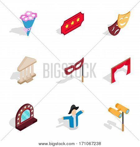 Entertainment icons set. Isometric 3d illustration of 9 entertainment vector icons for web