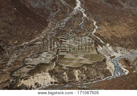 Houses and fields in high altitude. Thame valley Everest National Park. poster