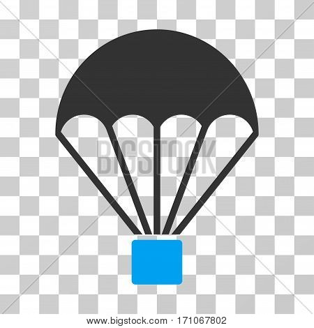 Parachute icon. Vector illustration style is flat iconic bicolor symbol blue and gray colors transparent background. Designed for web and software interfaces.
