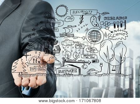 Close view of businessman presenting in palm ecology concept