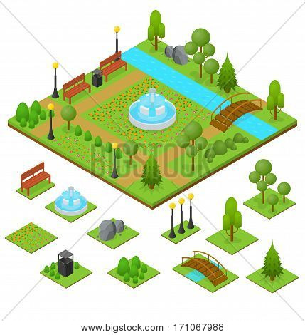 Urban Park and Part Set Isometric View Design Element for Garden Landscape Leisure and Recreation for Family. Vector illustration