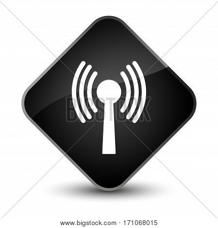 Wlan Network Icon Special Black Diamond Button