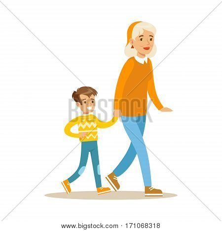 Grandmother Walking With Boy Holding Hands, Part Of Grandparents Having Fun With Grandchildren Series. Different Generations Of Family Enjoying Time Together Vector Cartoon Illustration.