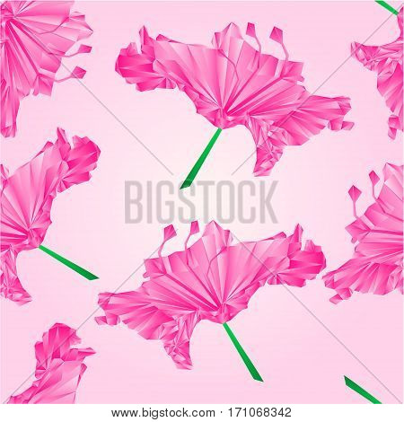 Seamless texture Flower simple rhododendron pink polygons Mountain shrub vector illustration