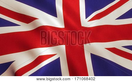 British UK flag background with cloth texture. 3D illustration.