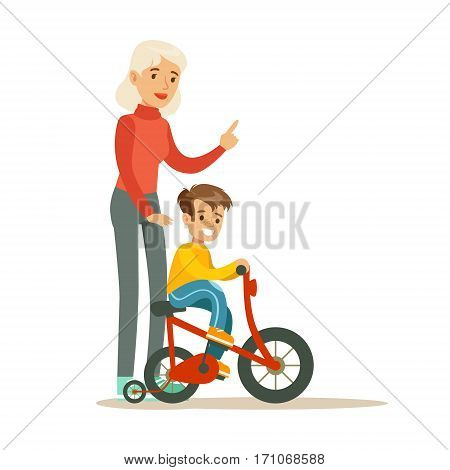 Grandmother Teaching Boy To Ride Bicycle, Part Of Grandparents Having Fun With Grandchildren Series. Different Generations Of Family Enjoying Time Together Vector Cartoon Illustration.