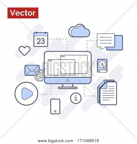 Modern technologies in action web site illustraion
