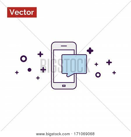 White phone and message illustration or icon
