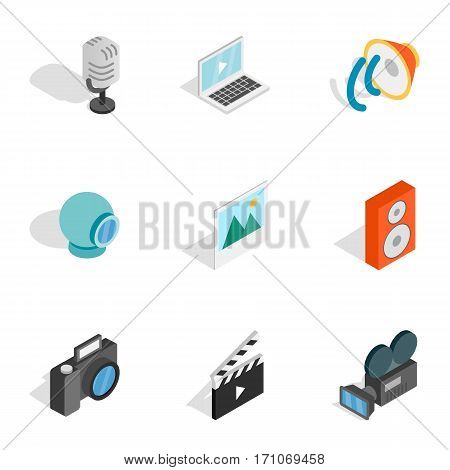 Music, photo and video equipment icons set. Isometric 3d illustration of 9 music, photo and video equipment vector icons for web