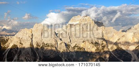 Evening view of gruppo del Sorapis South Tirol dolomites mountains Italy