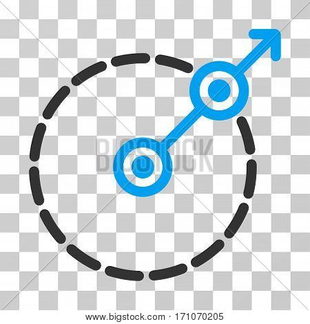 Round Area Exit icon. Vector illustration style is flat iconic bicolor symbol blue and gray colors transparent background. Designed for web and software interfaces.