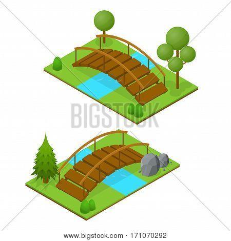 River Bridge Isometric View Design Element for Garden or Park Landscape. Vector illustration