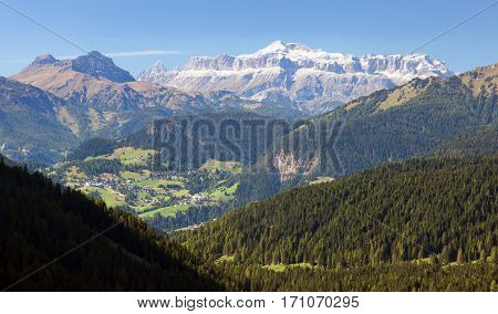 View of Sella gruppe Alps Dolomities mountains Italy