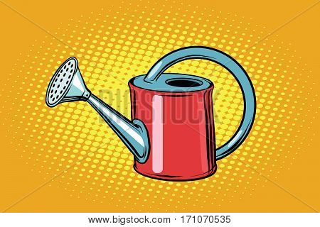 Garden watering can for plants. Vintage pop art retro vector. ecology and horticulture