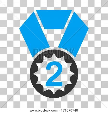 Second Place icon. Vector illustration style is flat iconic bicolor symbol blue and gray colors transparent background. Designed for web and software interfaces.