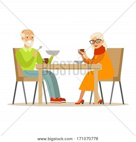 Grandfather And Grandmother Having Dinner, Part Of Grandparents Having Fun With Grandchildren Series. Different Generations Of Family Enjoying Time Together Vector Cartoon Illustration.
