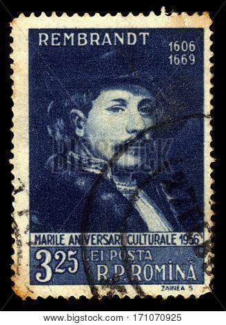 ROMANIA - CIRCA 1956: A stamp printed in Romania shows Rembrandt van Rijn (1606-1669) dutch painter, circa 1956