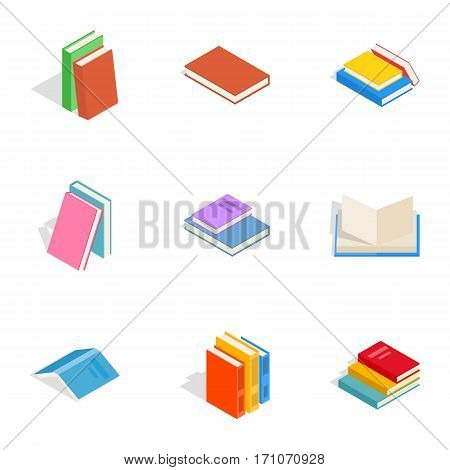 Learning icons set. Isometric 3d illustration of 9 learning vector icons for web