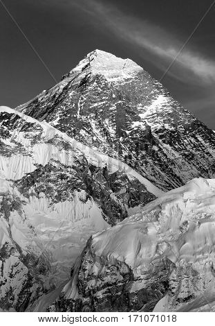 black and white view of Mount Everest from Kala Patthar Sagarmatha national park Khumbu valley Nepal