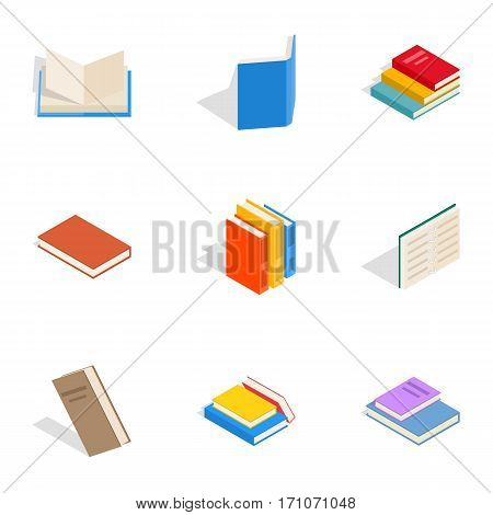 Various books icons set. Isometric 3d illustration of 9 various books vector icons for web